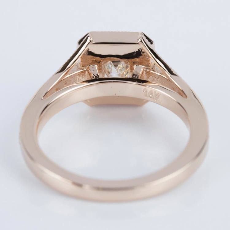 Vintage Milgrain Emerald Halo Diamond Ring in Rose Gold (0.50 ct.) angle 4