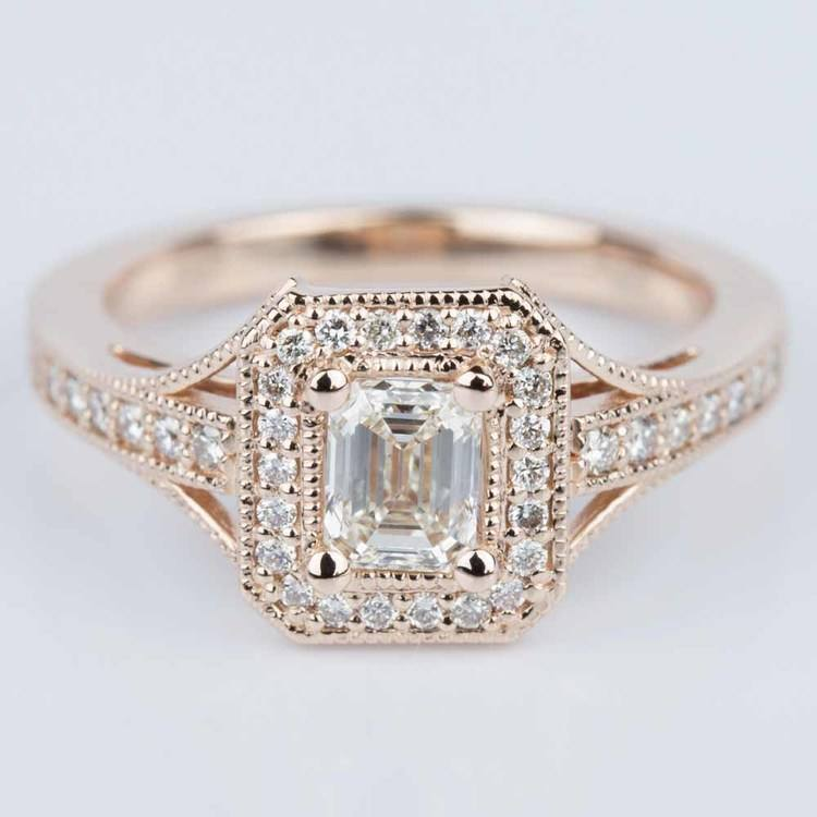 Vintage Milgrain Emerald Halo Diamond Ring in Rose Gold (0.50 ct.)