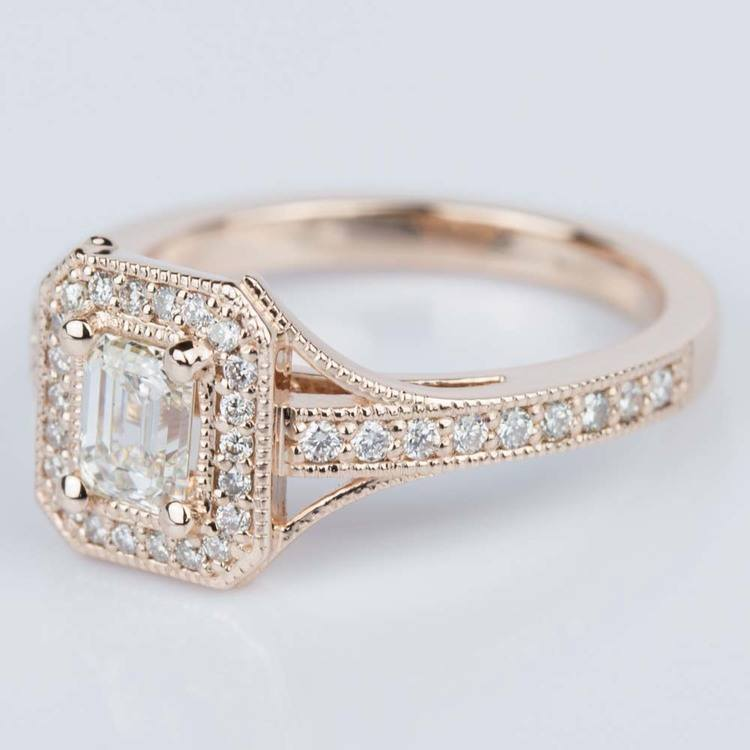 Vintage Milgrain Emerald Halo Diamond Ring in Rose Gold (0.50 ct.) angle 2