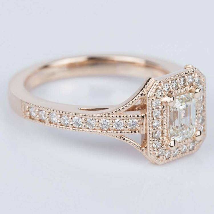Vintage Milgrain Emerald Halo Diamond Ring in Rose Gold (0.50 ct.) angle 3