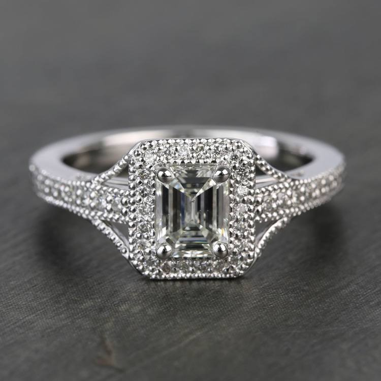 Vintage Milgrain Halo 0.73 Carat Emerald Diamond Engagement Ring