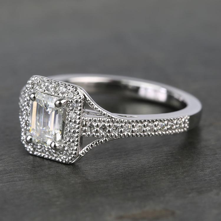 Vintage Milgrain Halo 0.73 Carat Emerald Diamond Engagement Ring angle 2