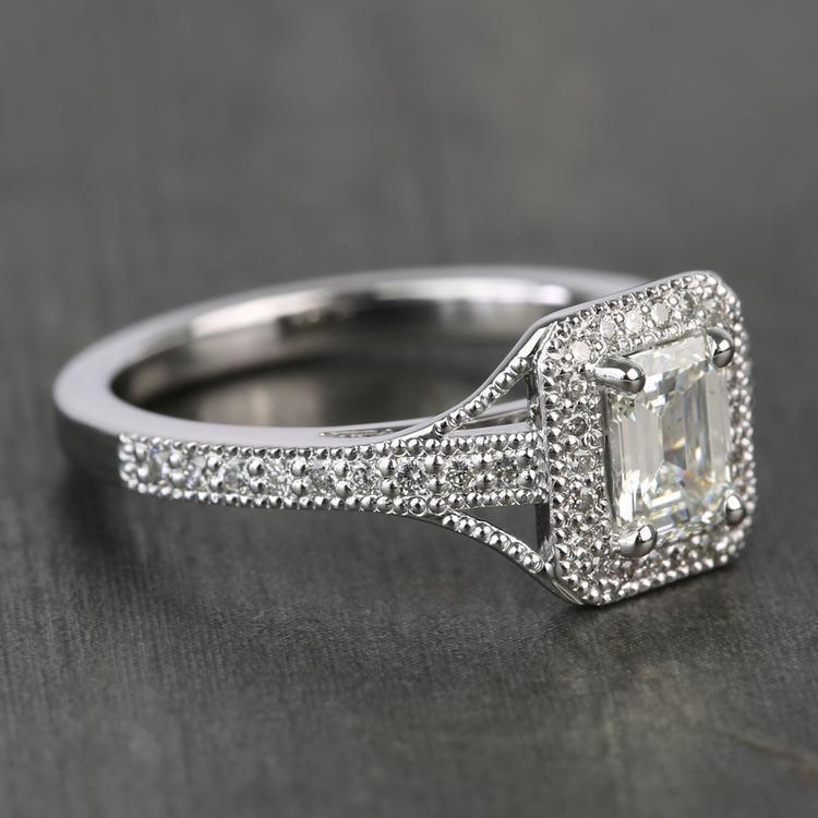 Vintage Milgrain Halo 0.73 Carat Emerald Diamond Engagement Ring angle 3