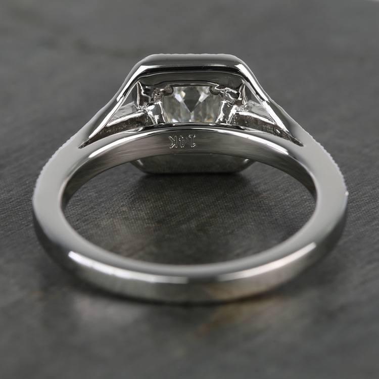 Vintage Milgrain Halo 0.73 Carat Emerald Diamond Engagement Ring angle 4