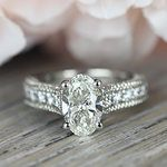 Vintage Milgrain Oval Engagement Ring - small angle 5
