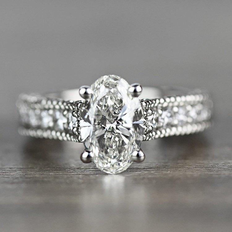Vintage Milgrain Oval Engagement Ring