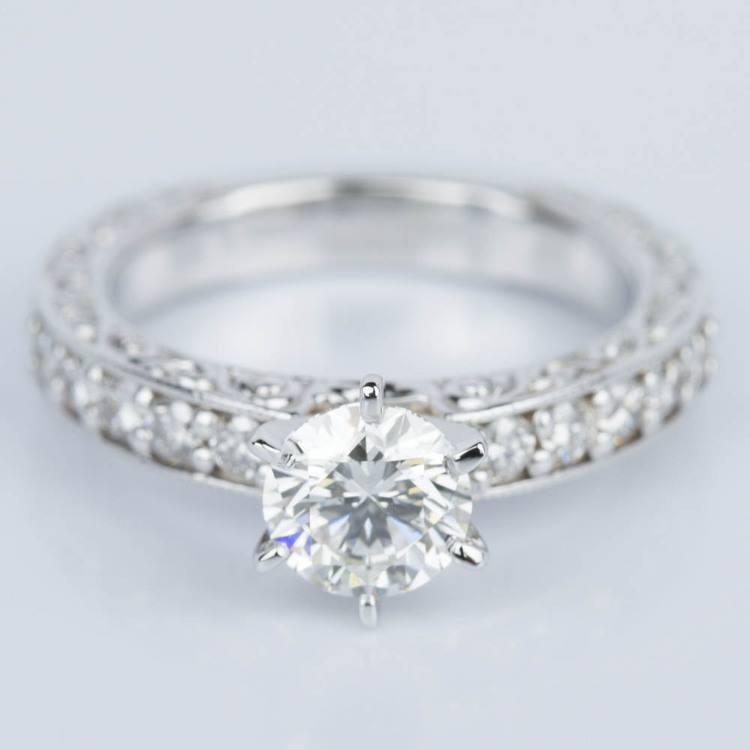 Vintage Milgrain & Scroll-Work Diamond Engagement Ring (0.90 ct.)