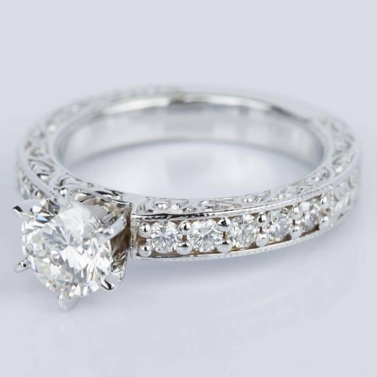 Vintage Milgrain & Scroll-Work Diamond Engagement Ring (0.90 ct.) angle 2