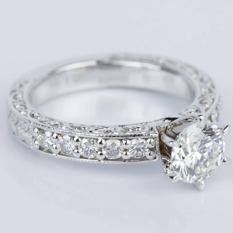 Vintage Milgrain & Scroll-Work Diamond Engagement Ring (0.90 ct.) angle 3