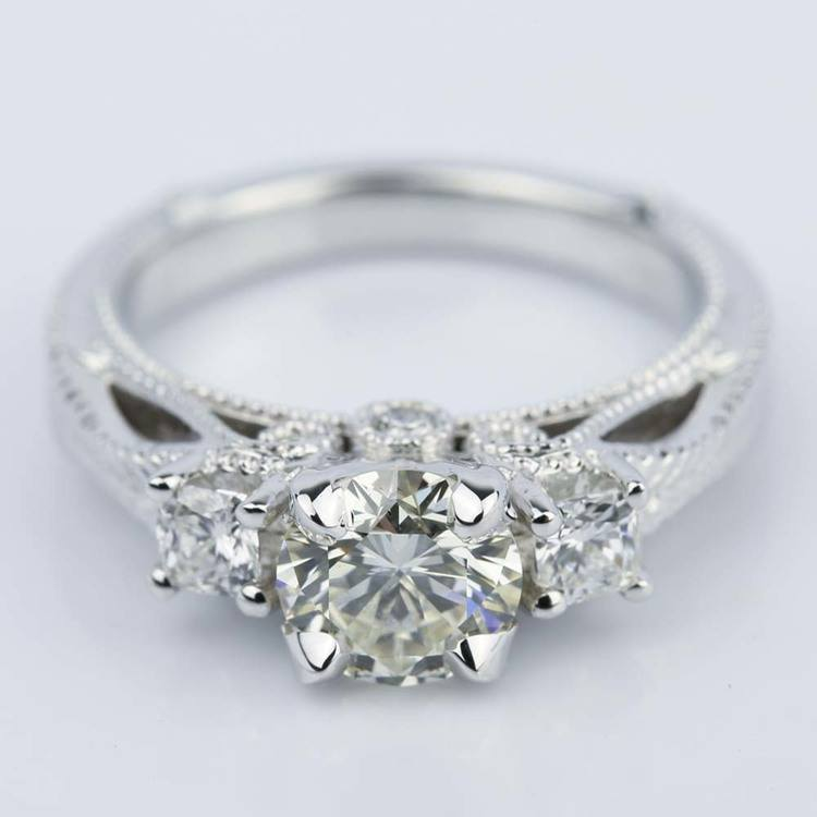 Vintage Milgrain Three-Stone Diamond Engagement Ring