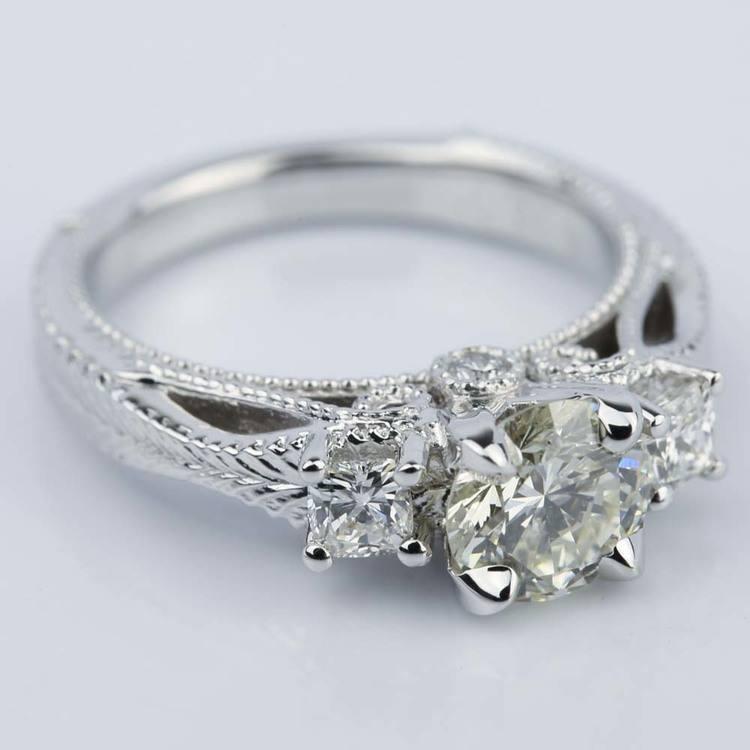 Vintage Milgrain Three-Stone Diamond Engagement Ring angle 3