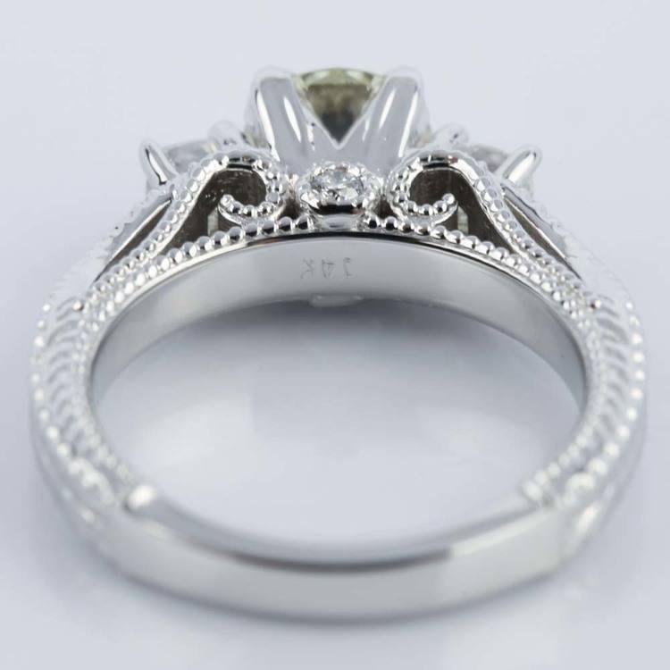 Vintage Milgrain Three-Stone Diamond Engagement Ring angle 4