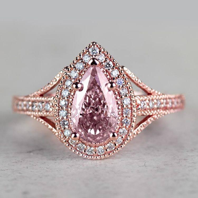 Vintage Pear 1 Carat Pink Diamond Engagement Ring