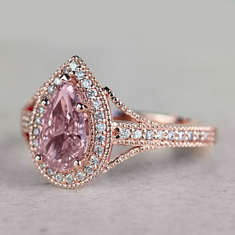 Vintage Pear 1 Carat Pink Diamond Engagement Ring angle 2