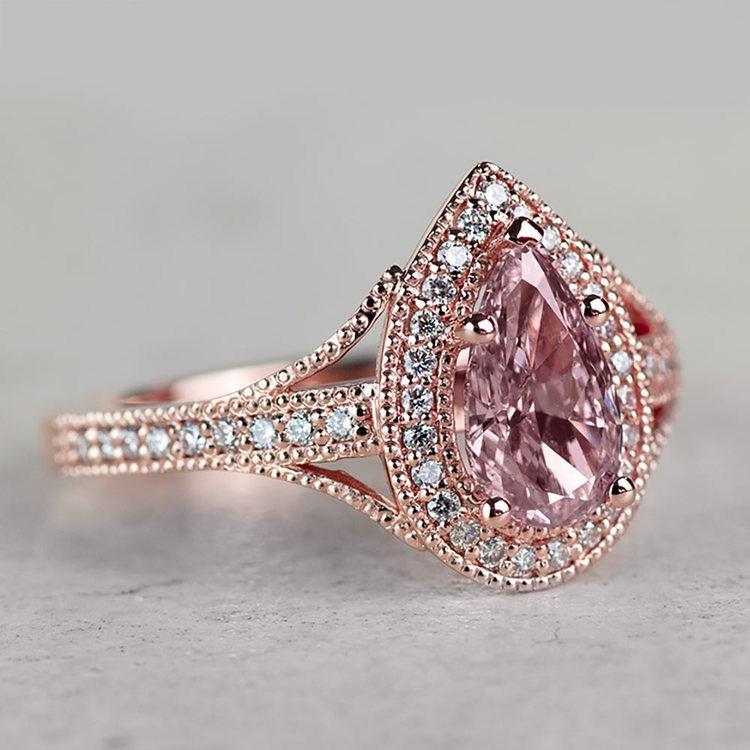 Vintage Pear 1 Carat Pink Diamond Engagement Ring angle 3