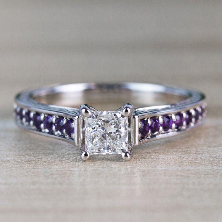Vintage Princess Cut Diamond with Amethyst Side Stones