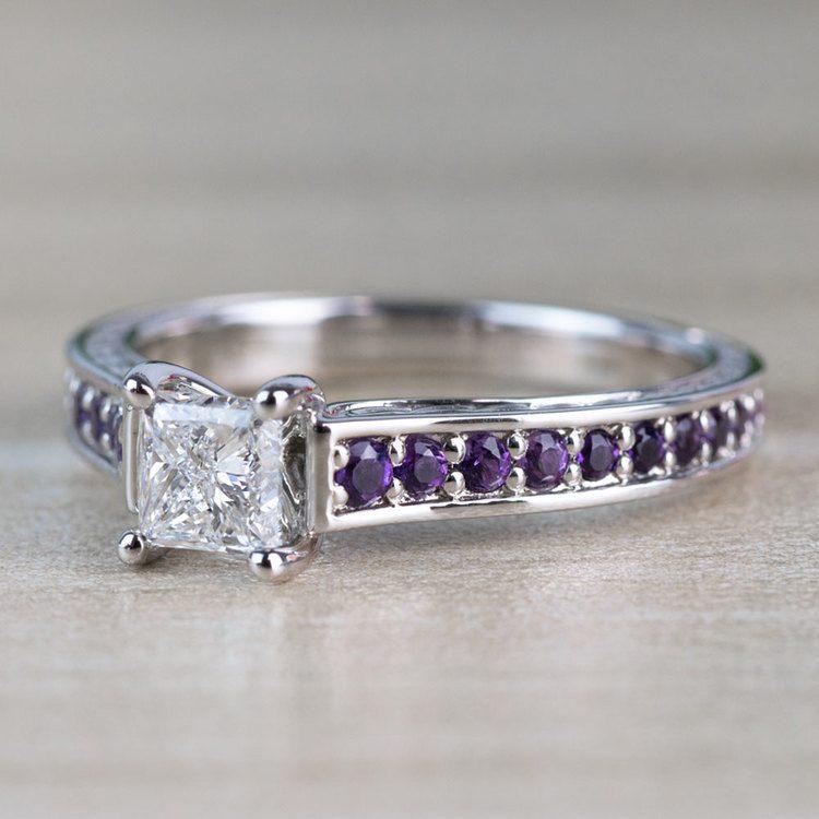 Vintage Princess Cut Diamond with Amethyst Side Stones angle 2