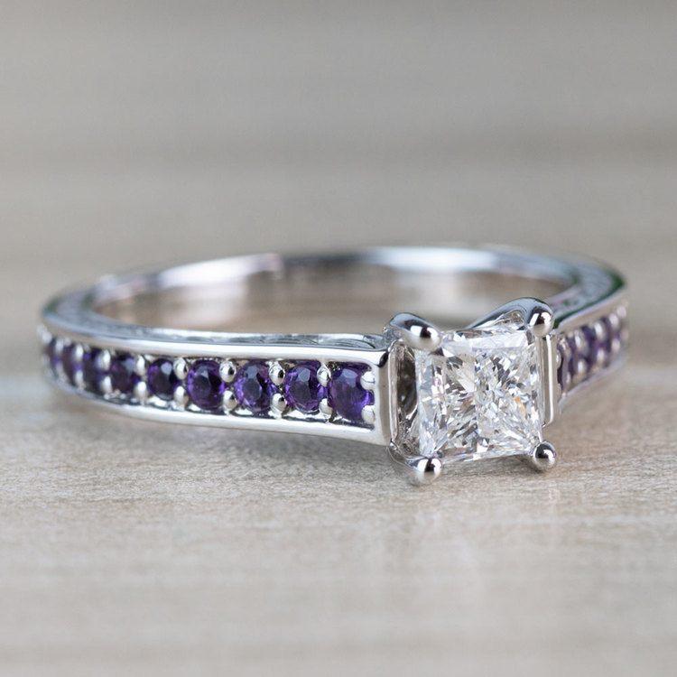Vintage Princess Cut Diamond with Amethyst Side Stones angle 3