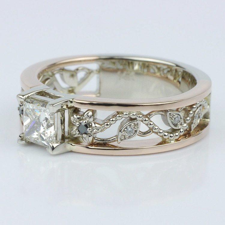 Vintage Rose Gold Floral Filigree Engagement Ring angle 2