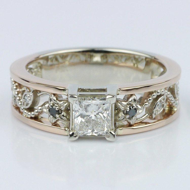 Vintage Rose Gold Floral Filigree Engagement Ring