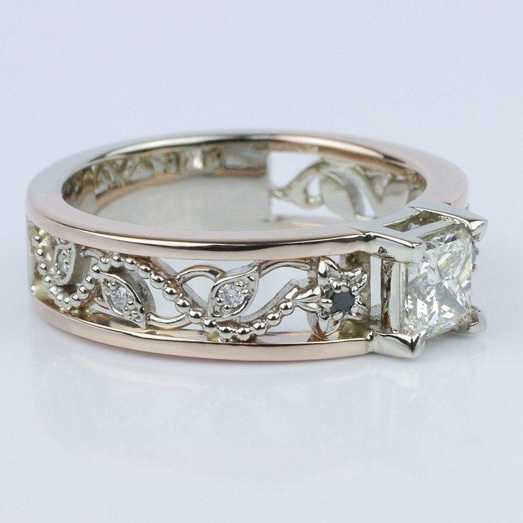 Vintage Rose Gold Floral Filigree Engagement Ring angle 3
