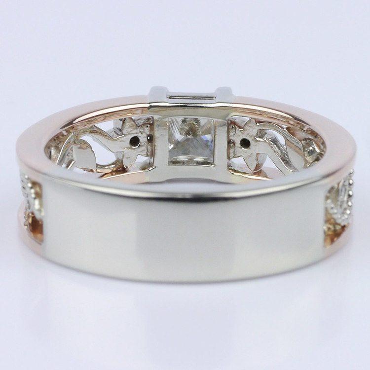 Vintage Rose Gold Floral Filigree Engagement Ring angle 4