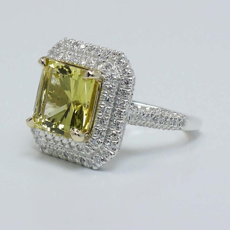 Custom Art Deco Halo Fancy Yellow Diamond Engagement Ring angle 2