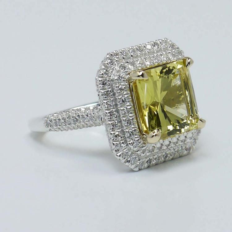 Custom Art Deco Halo Fancy Yellow Diamond Engagement Ring angle 3