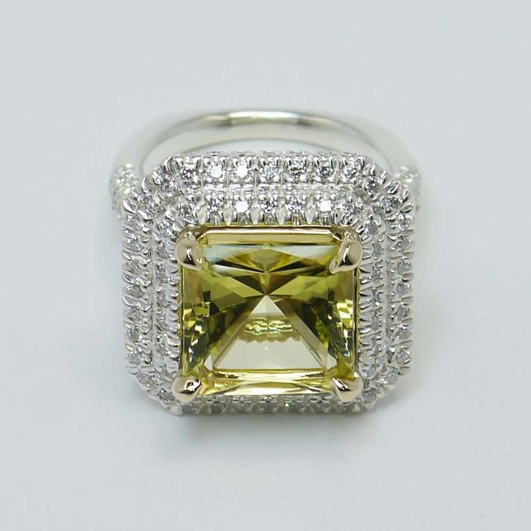 Custom Art Deco Halo Fancy Yellow Diamond Engagement Ring angle 4