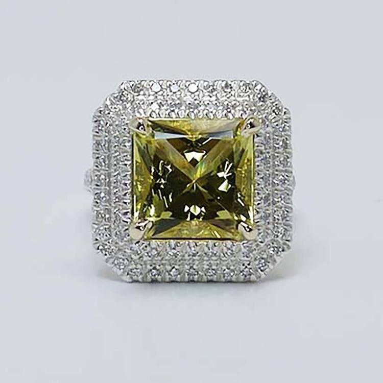 Custom Art Deco Halo Fancy Yellow Diamond Engagement Ring