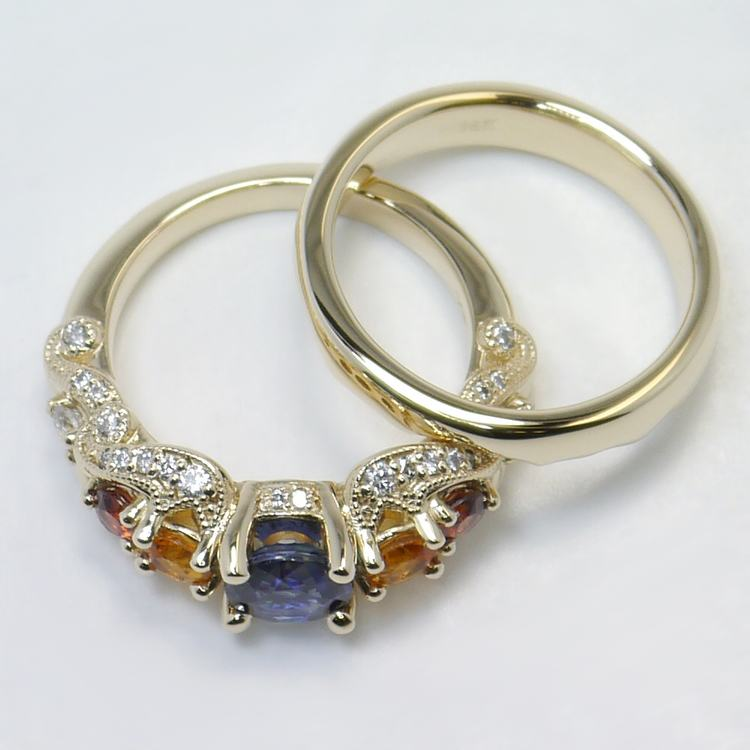 Custom Vintage Diamond & Multi-Colored Sapphire Engagement Ring angle 4