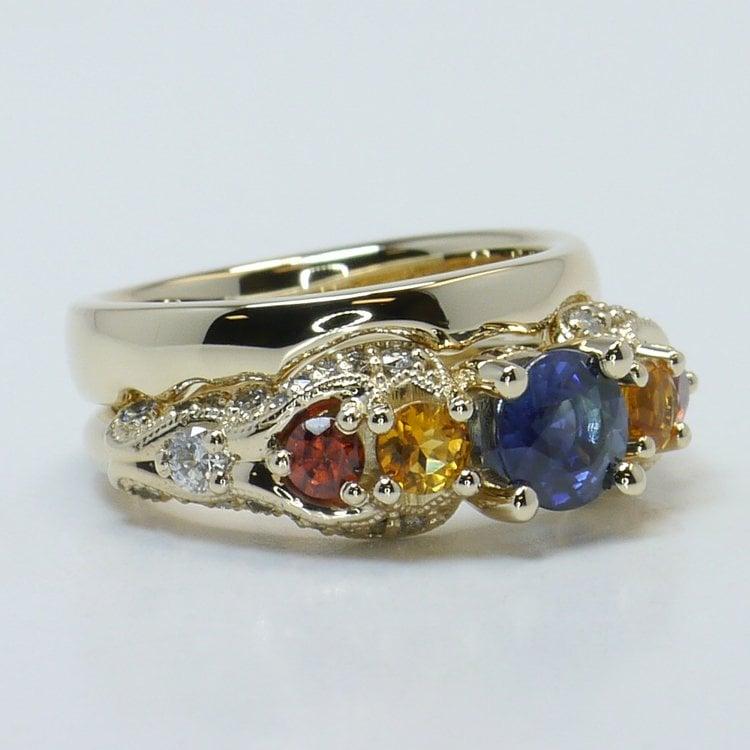 Custom Vintage Diamond & Multi-Colored Sapphire Engagement Ring angle 3