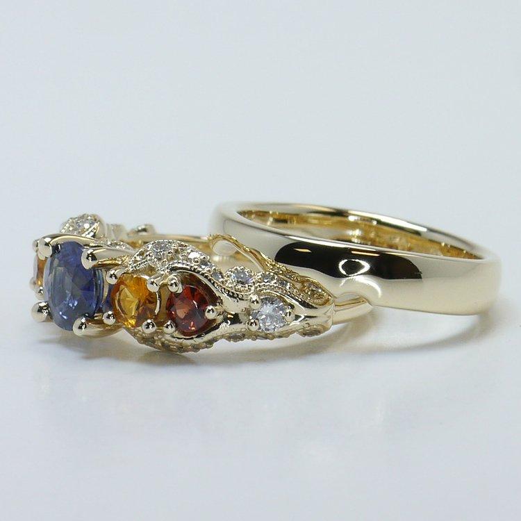 Custom Vintage Diamond & Multi-Colored Sapphire Engagement Ring angle 2