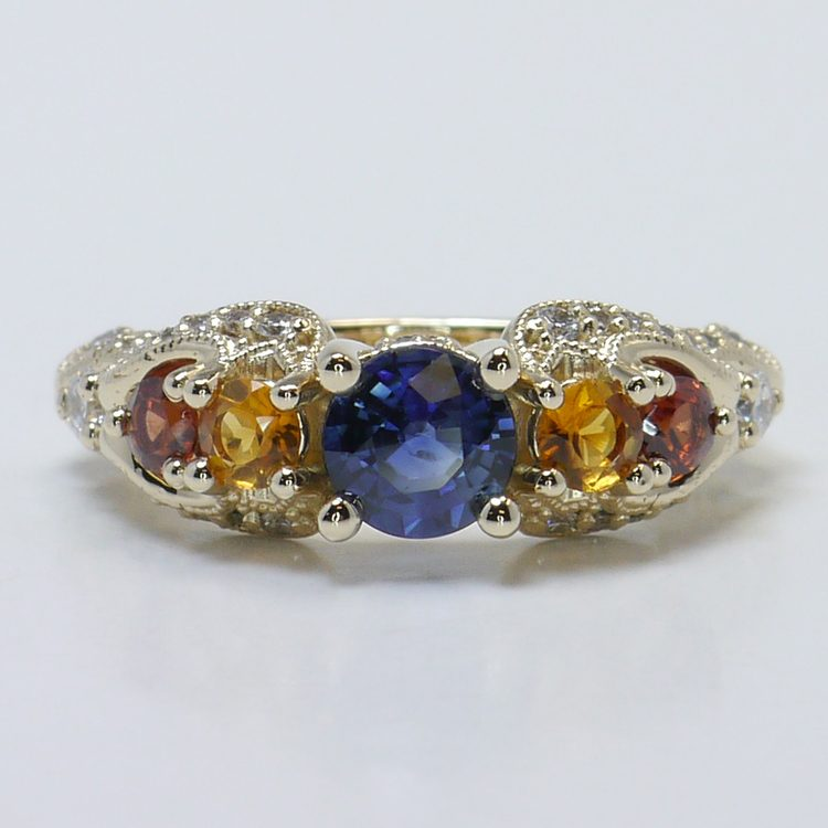Custom Vintage Diamond & Multi-Colored Sapphire Engagement Ring