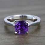 Violet Custom Cushion Amethyst Engagement Ring with Surprise Diamond - small