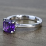 Violet Custom Cushion Amethyst Engagement Ring with Surprise Diamond - small angle 2