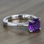 Violet Custom Cushion Amethyst Engagement Ring with Surprise Diamond - small angle 3
