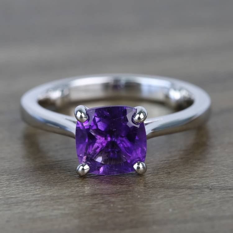 Violet Custom Cushion Amethyst Engagement Ring with Surprise Diamond
