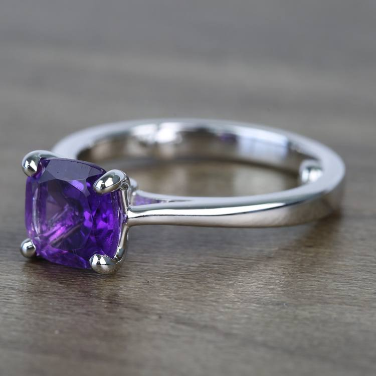 Violet Custom Cushion Amethyst Engagement Ring with Surprise Diamond angle 2