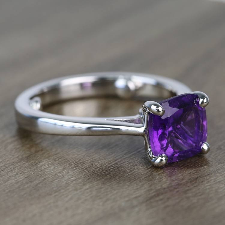 Violet Custom Cushion Amethyst Engagement Ring with Surprise Diamond angle 3