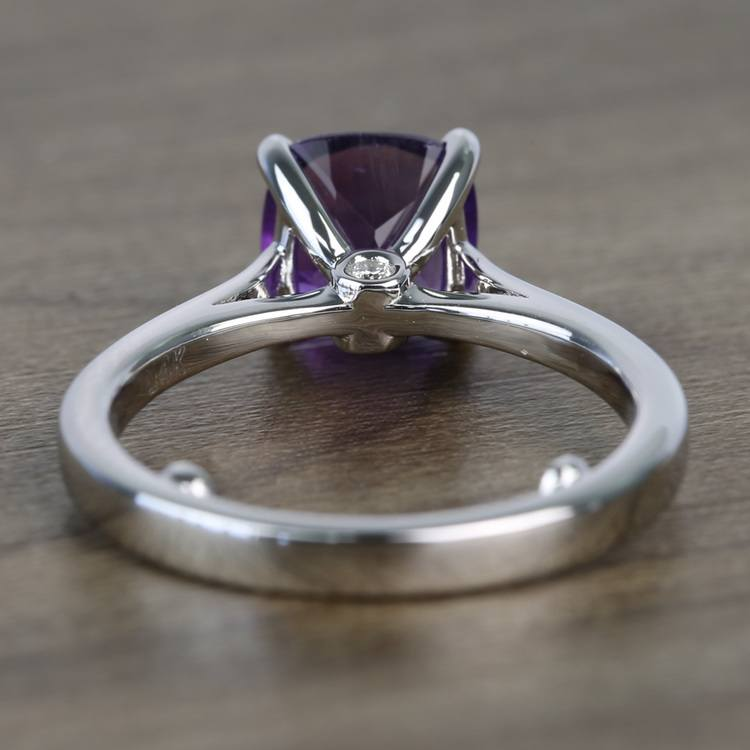 Violet Custom Cushion Amethyst Engagement Ring with Surprise Diamond angle 4
