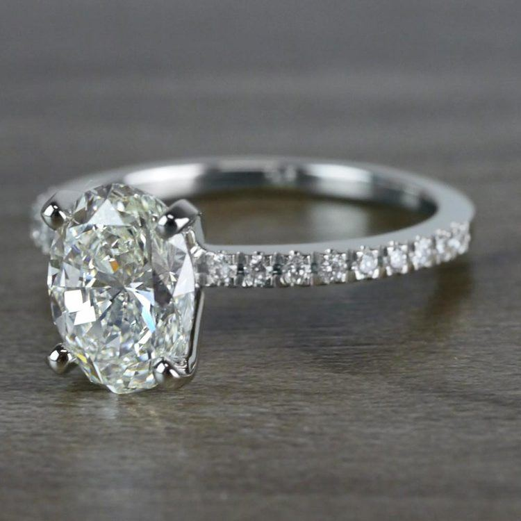 Whimsical White Gold Engagement Oval Diamond Ring angle 2