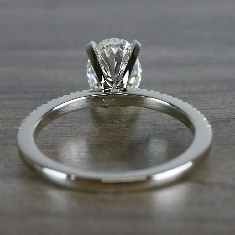 Whimsical White Gold Engagement Oval Diamond Ring angle 4