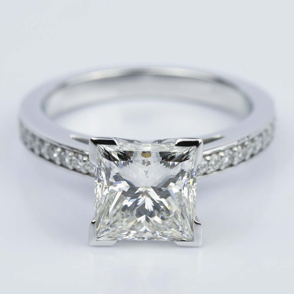 White Gold Pave Cathedral Diamond Engagement Ring With 246 Carat Princess