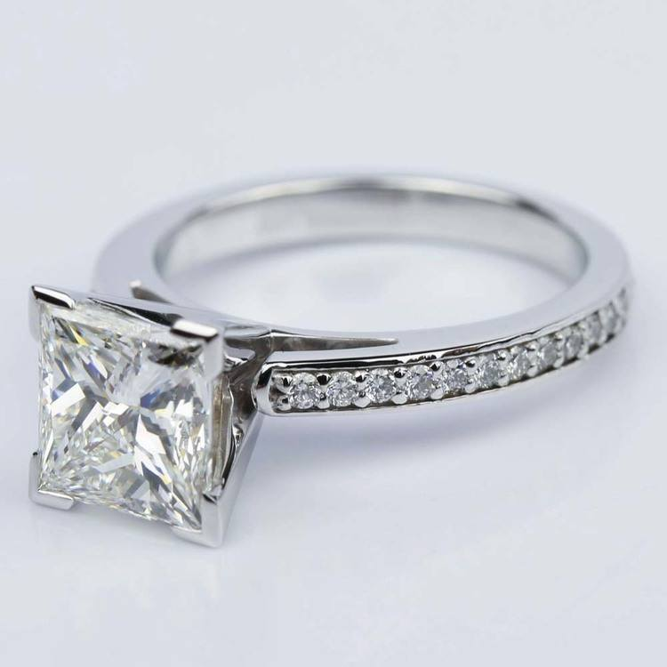 White Gold Pave Cathedral Diamond Engagement Ring with 2.46 Carat Princess  angle 2