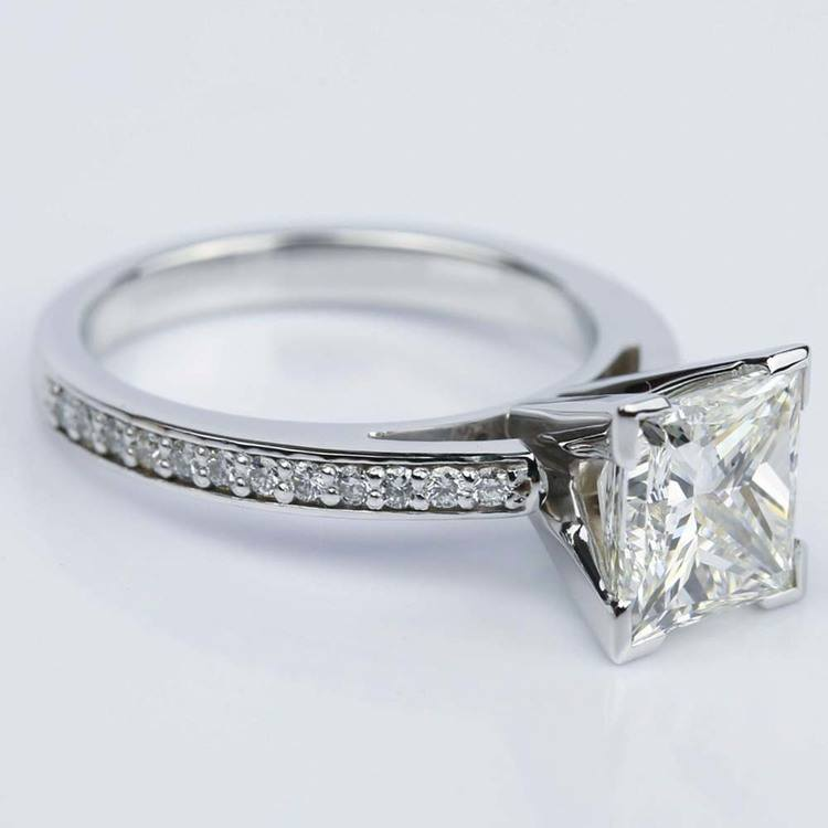White Gold Pave Cathedral Diamond Engagement Ring with 2.46 Carat Princess  angle 3