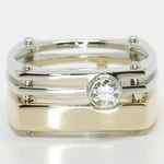 Dual Toned 0.30 Carat Custom Round Men's Diamond Engagement Ring - small