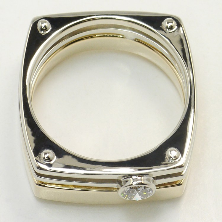 Dual Toned 0.30 Carat Custom Round Men's Diamond Engagement Ring angle 4