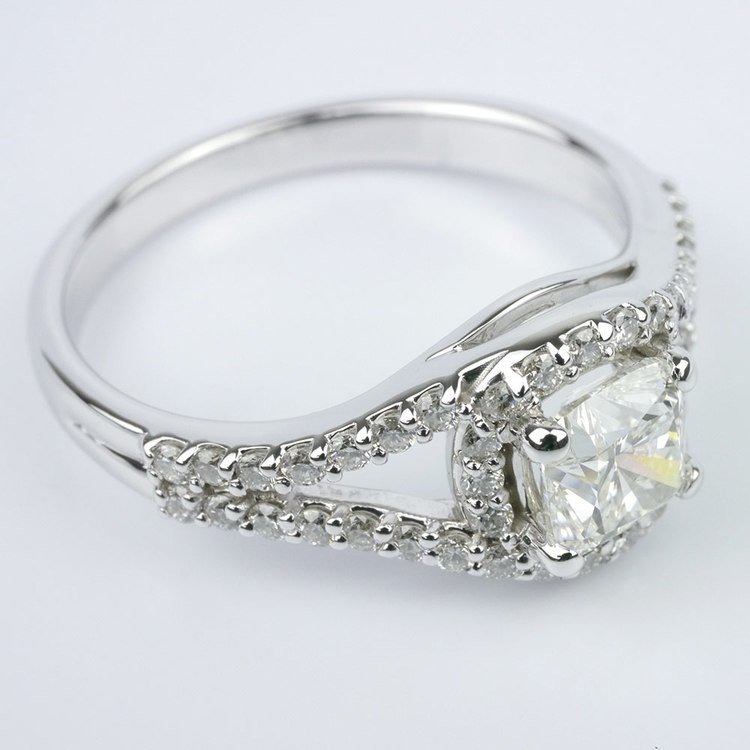 Wrapped Halo Diamond Engagement Ring angle 3