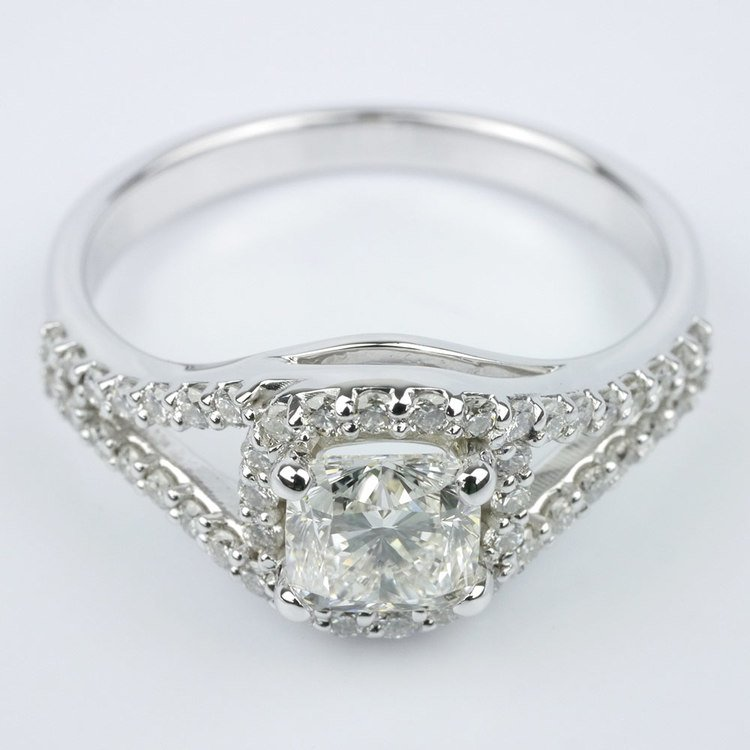 Wrapped Halo Diamond Engagement Ring